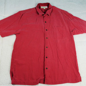 Tommy Bahamas Red Button Up Silk Shirt Large